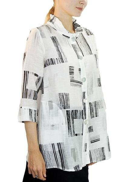 Terra Terra's Sheer Tunic Jacket In Black & White