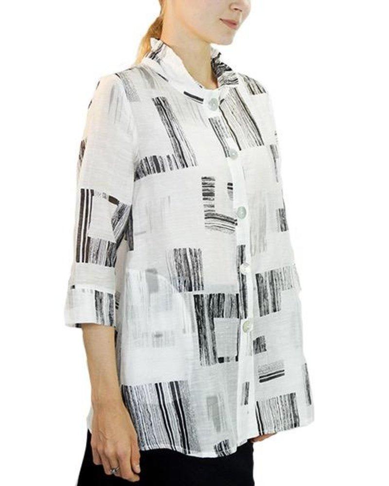 Terra Terra's Sheer Tunic Jacket In Black & White
