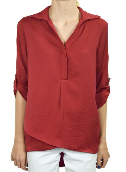 Renuar Renuar's Soft And Beautiful Blouse In Crimson