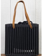 Wood Slat Purse In Black