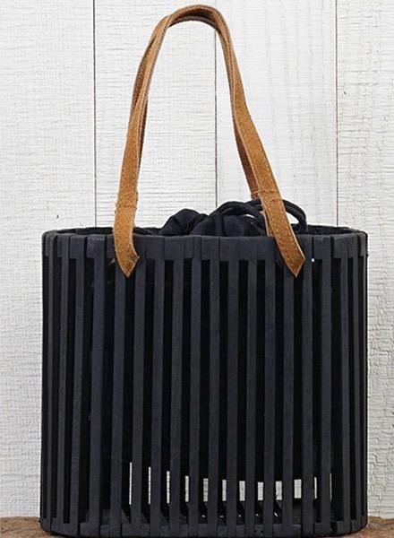 Wood Slat Purse In Black