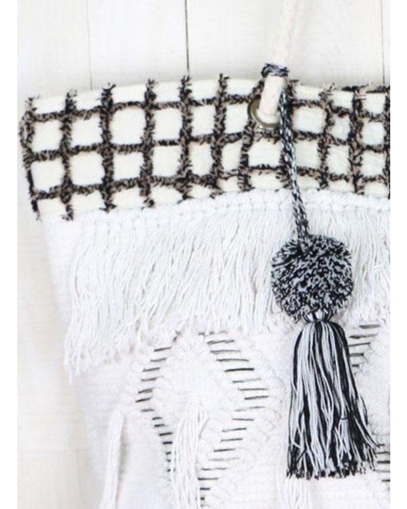 Hand Loomed Tassel & Diamond Tote