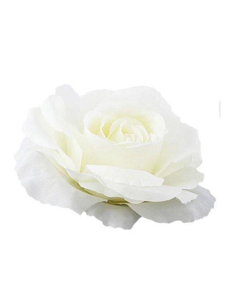 Rose Flower Pin In White
