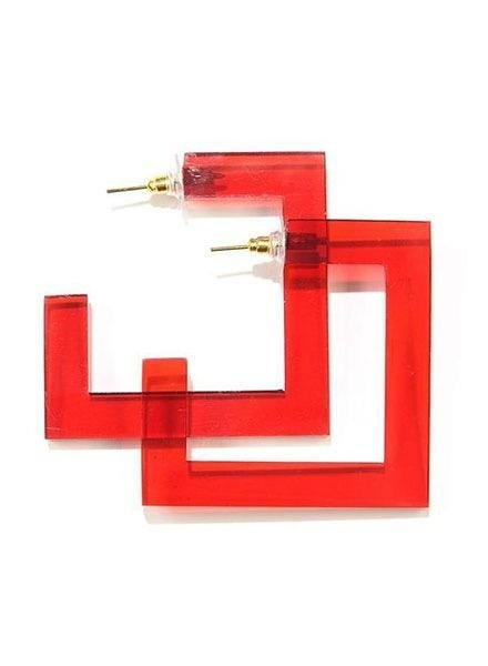 Ink + Alloy Square Lucite Hoops In Red
