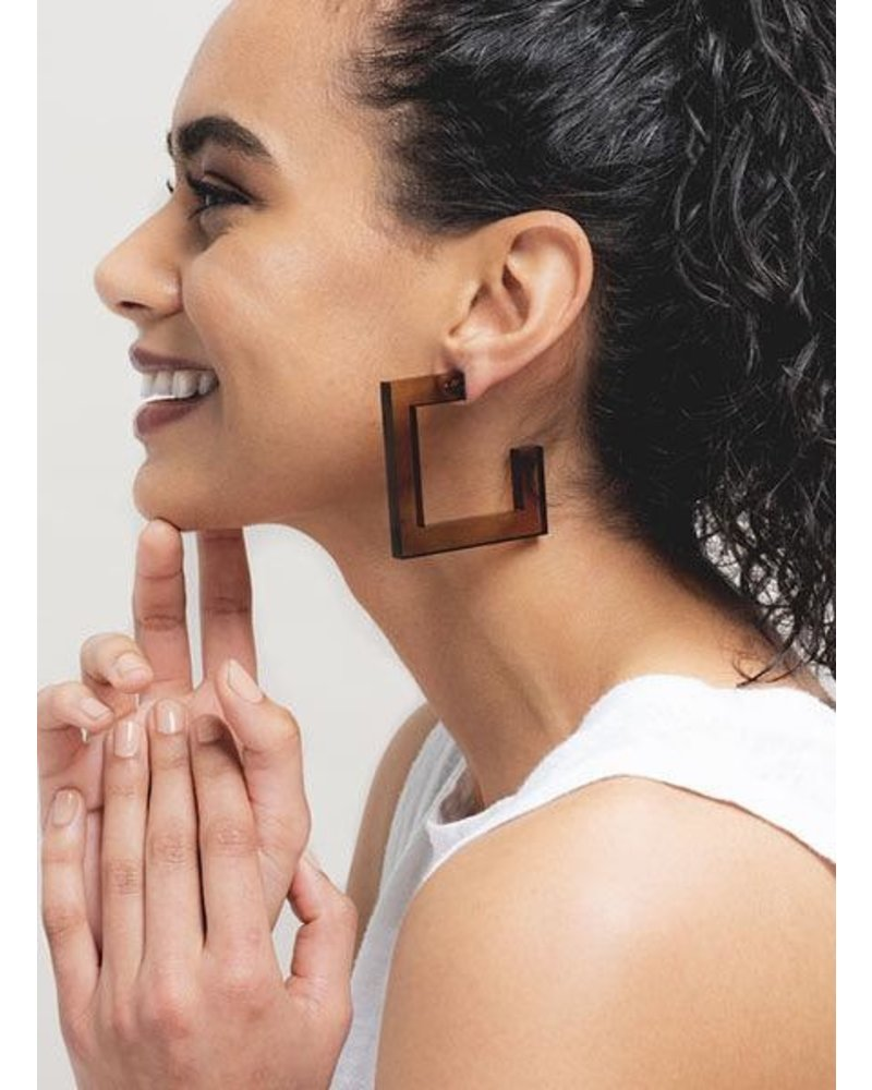 Ink + Alloy Square Lucite Hoops In Olive
