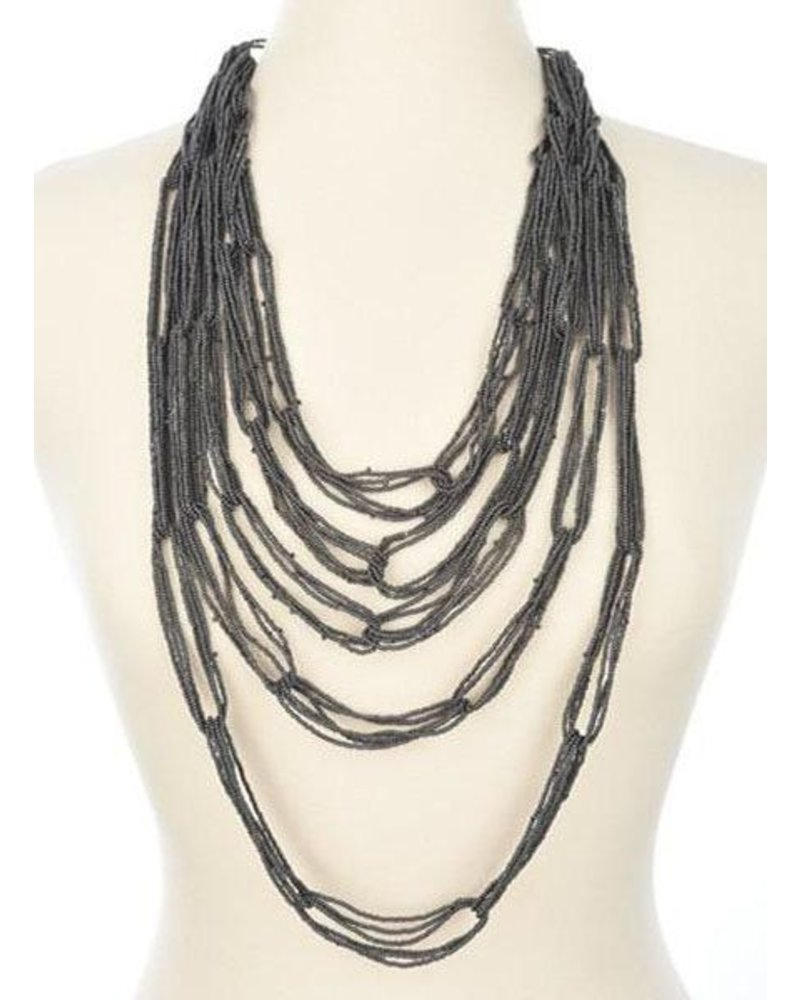 Ink + Alloy Multi Layer Seed Bead Necklace In Grey