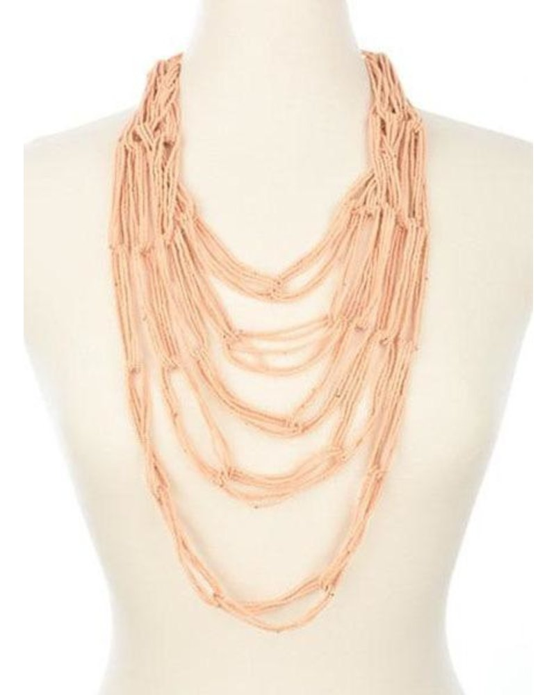Ink + Alloy Multi Layer Seed Bead Necklace In Peach