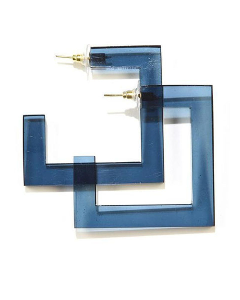 Ink + Alloy Square Lucite Hoops In Peacock