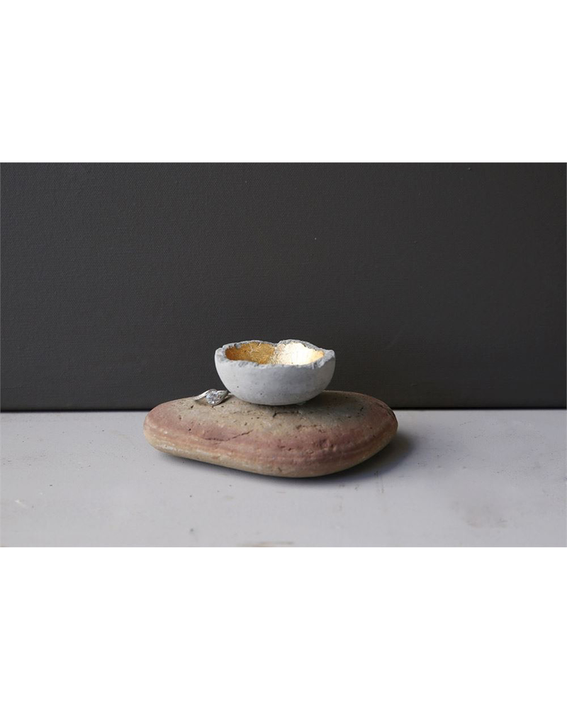 """2-1/2"""" Round Little Cement Bowl With Gold Interior"""