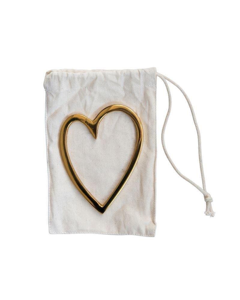 Decorative Brass Heart In Bag