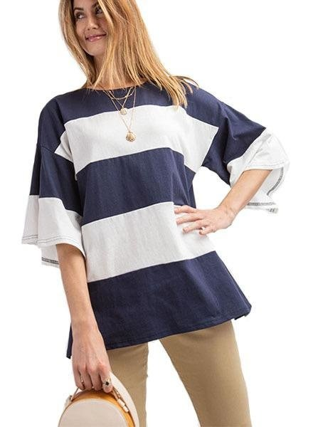 Color Block Box Top In Navy & White