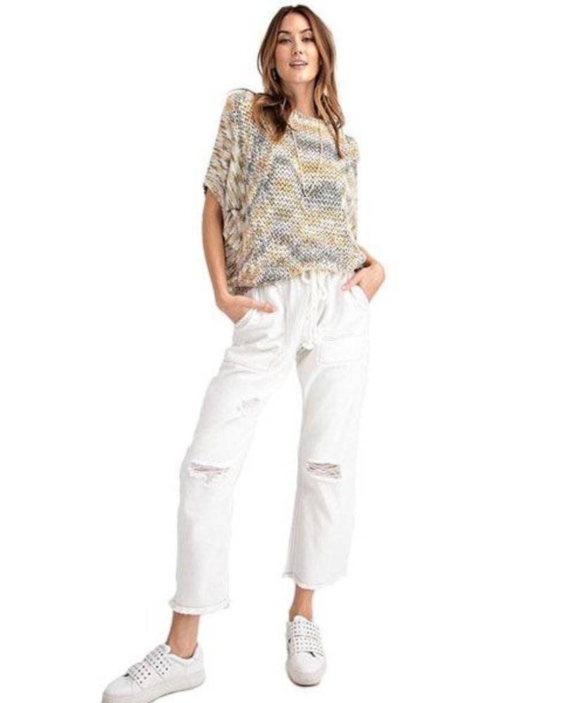 Distressed Boyfriend Pant In Off White