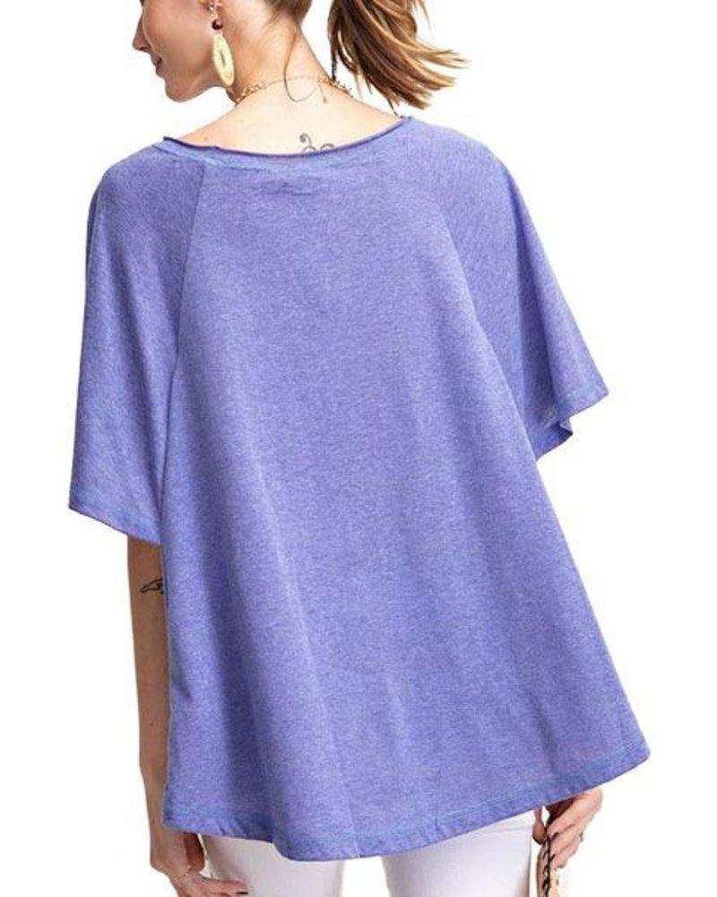 Paris Blue Wing Sleeve Top