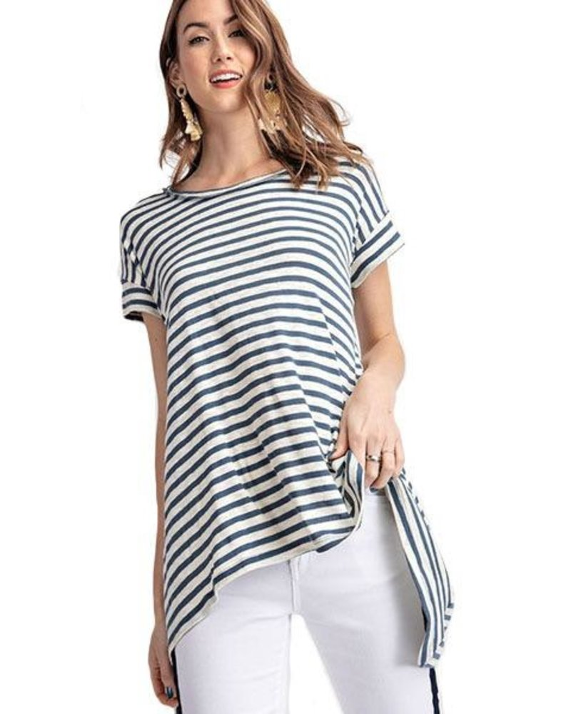 Classic Stripe Tee In Faded Blue