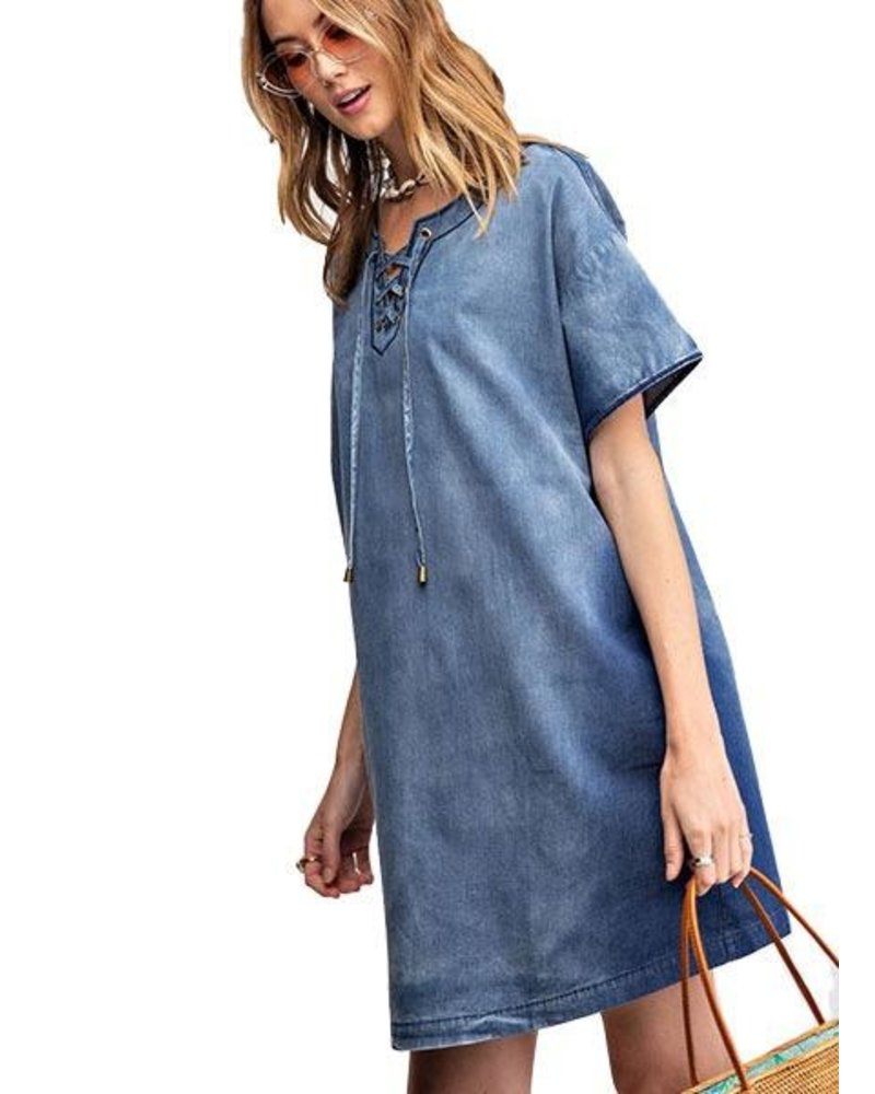 Lace Up Front Denim Dress