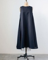 The Cotton Linen Shari Dress In Black