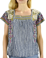 Johnny Was Johnny Was Ronnie Crop Mexican Top In Blue Gingham