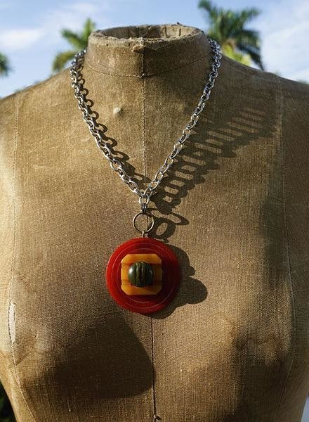 Vintage Bakelite Buttons Necklace-Red Gold & Green