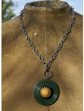 Vintage Bakelite Buttons Necklace-Green Gold & Black