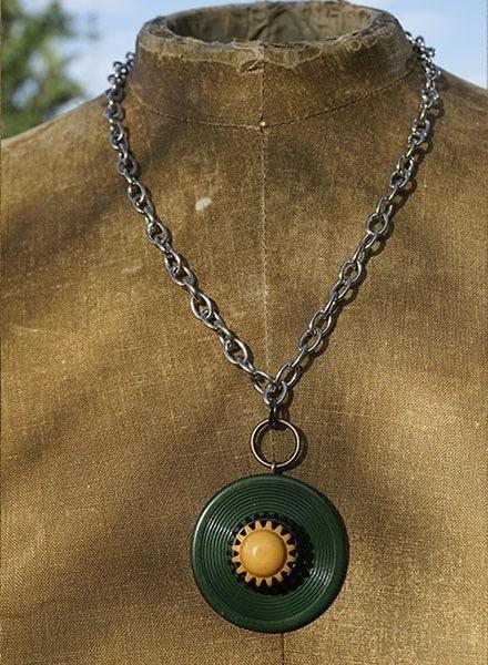 Vintage Bakelite Buttons Necklace-Green Gold & Black