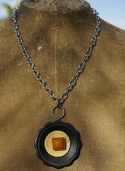 Vintage Bakelite Buttons Necklace-Gold Square