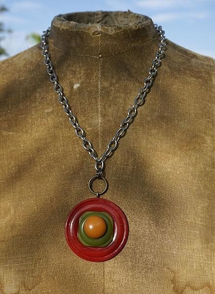 Vintage Bakelite Buttons Necklace-Red Green & Gold