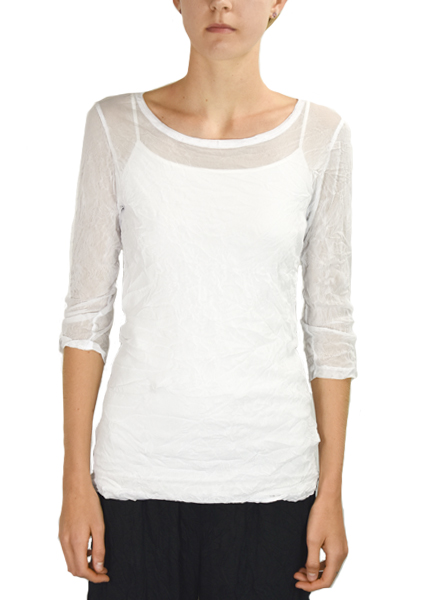 Comfy's 3/4 Sleeve Tee In White Crinkle Mesh