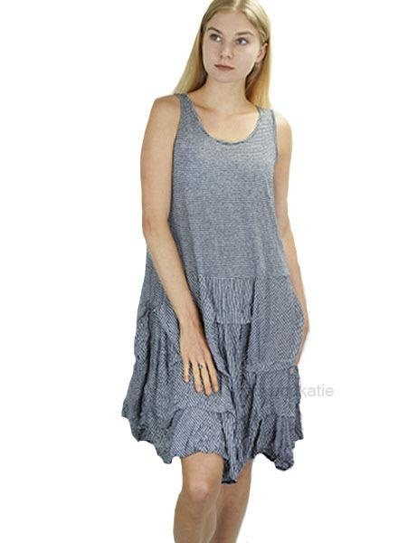 Comfy's Crushed Dress In Navy Stripe