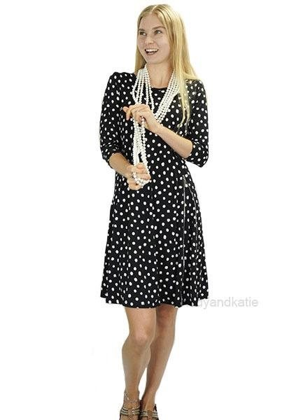 Comfy's Milan Dress In Black With White Dots