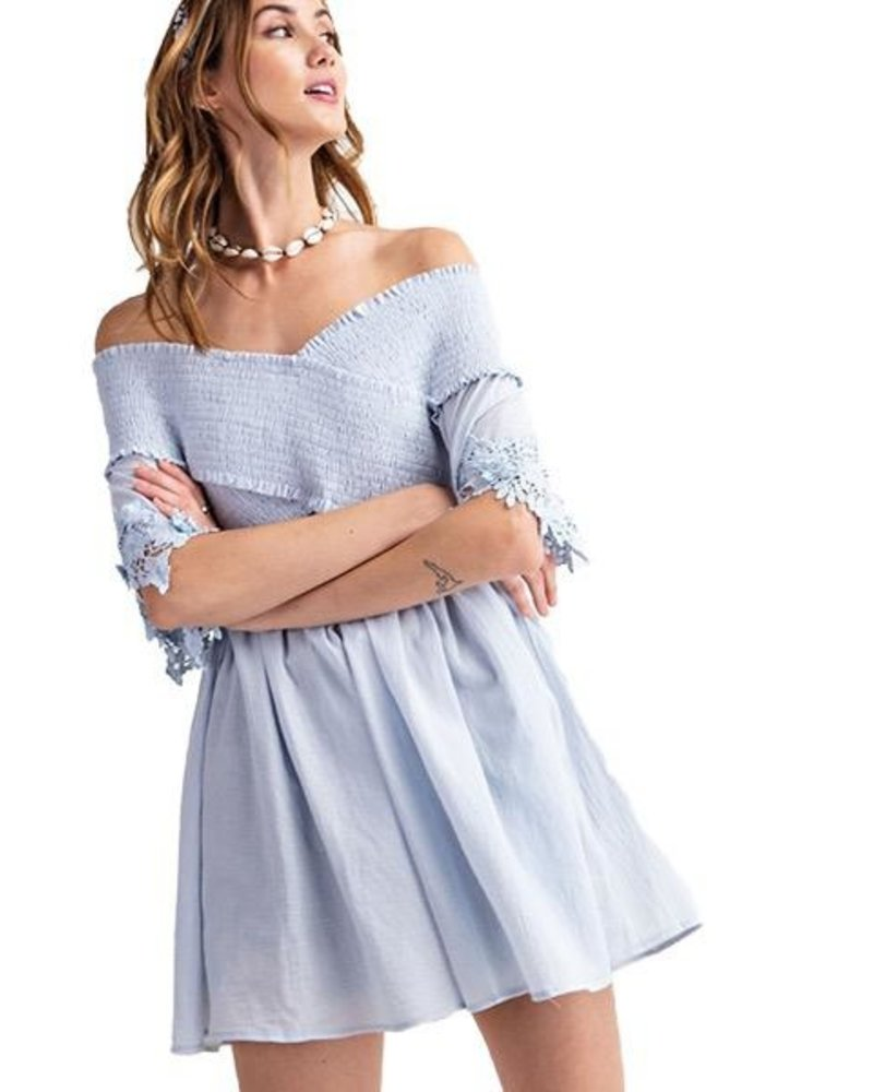 Eloise Off The Shoulder Tunic Top In Off Light Blue