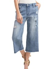 Demin Cropped Flare Jeans In Light Denim