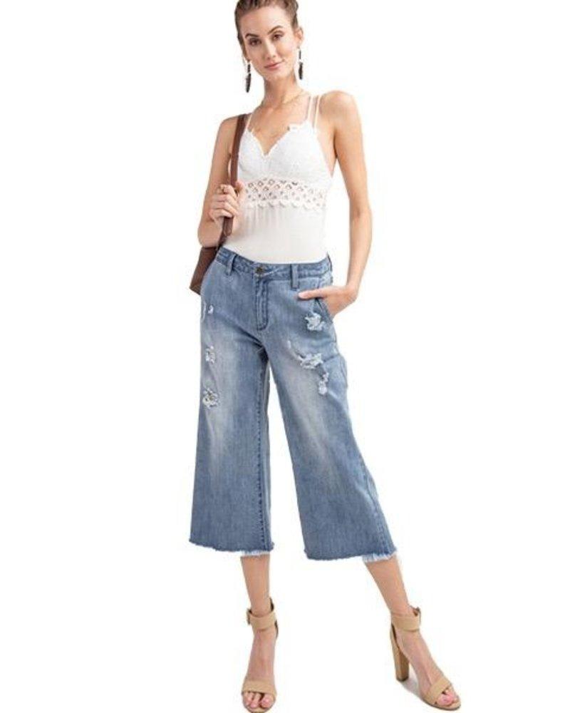 Demin Cropped Flare Jeans In Light Denim