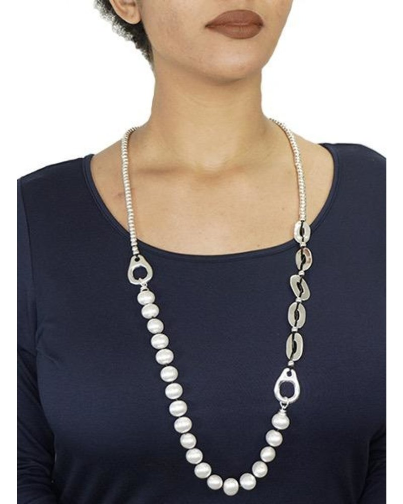 Beads, Pearls & Silver Necklace