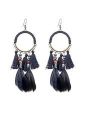 Boho Feather Tassel Earrings In Black