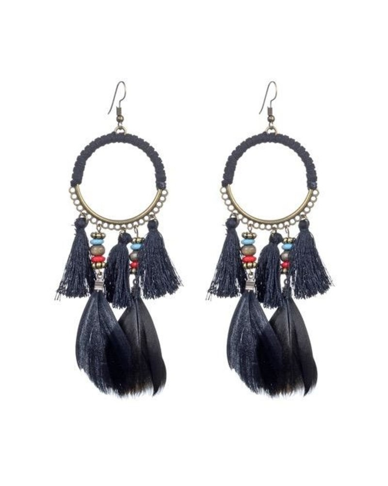 Boho Feather Tassel Earrings In Black