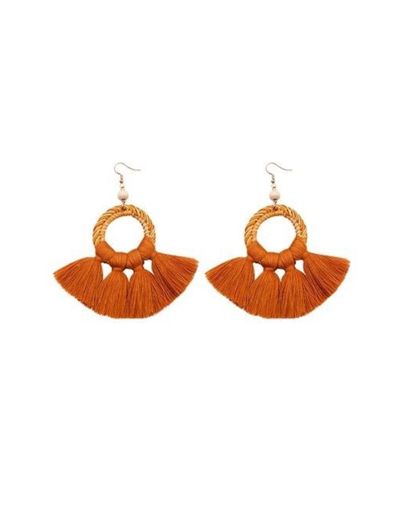 Silk Tassel & Weave Earrings In Sienna