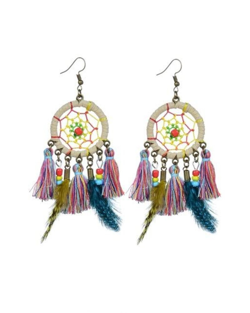 Dream Catcher Earrings In Beige
