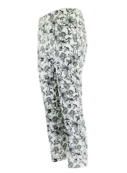 Renuar Renuar 1950's Floral Crop Pant In Black & White