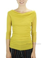 Petit Pois' Shirred Cowl Neck Top In Lemon Zest