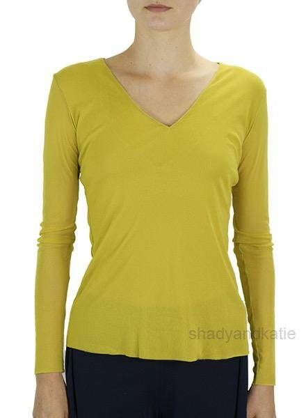 Petit Pois V-Neck Top In Lemon Zest