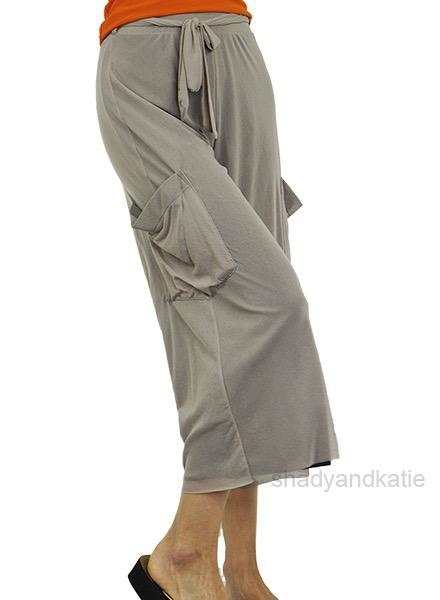 PetitPois Petit Pois Cropped Wide Leg Pant in Khaki