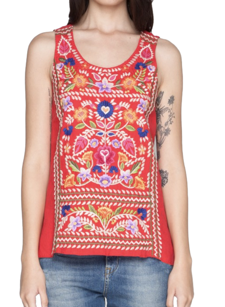 Johnny Was Josephine Crop Tank In Picnic Blanket Red