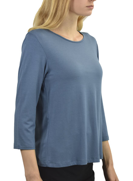Comfy U.S.A. Comfy 3/4 Sleeve Top In Shadow