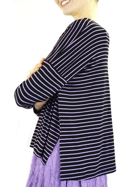 Comfy's Long Beach Topper In Violet Stripe
