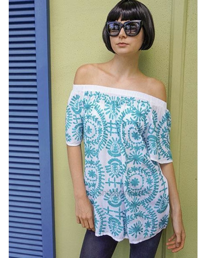 Jewel Embroidered Turquoise Top