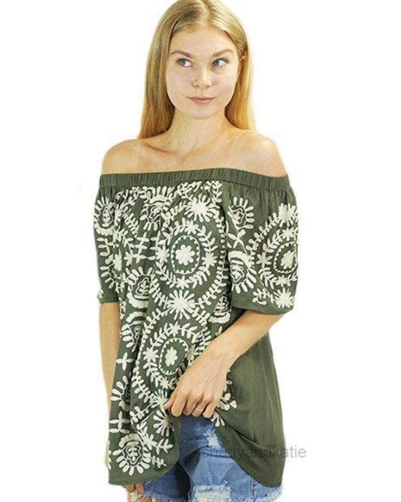 Jewel Embroidered Olive Top
