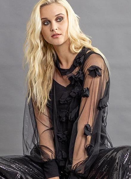 Petit Pois Sheer Black Flower Appliqued Top
