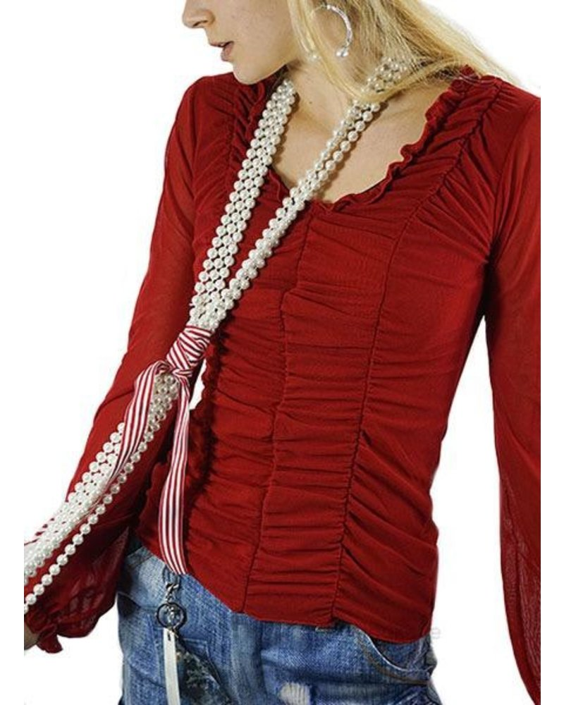 Petit Pois Draped Front Top In Rosso Red