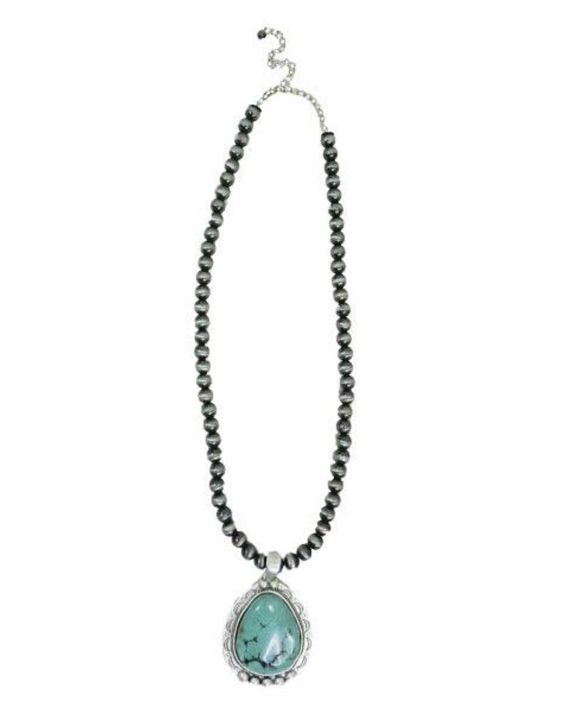 Turquoise Pendant On Navajo Pearls