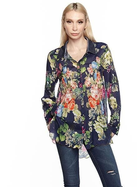 Aratta Aratta's Night Blue Floral Clare Shirt